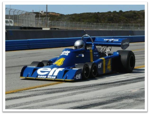 Rodolfo Junco in his 1976 Tyrrell P34 six-wheeler