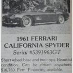 Ferrari 250 GT SWB California Spyder – Classic Cars for Sale