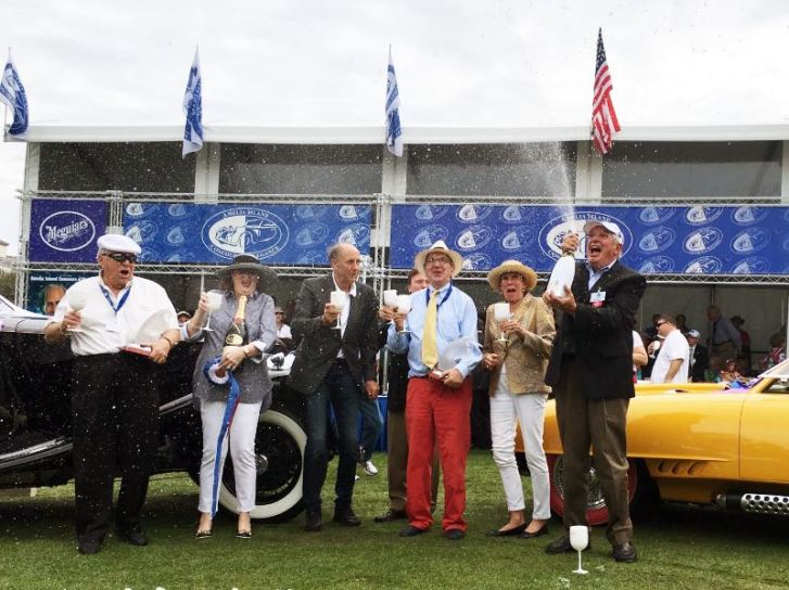 2016 Amelia - Best in Show - Jack and Helen Nethercutt (l), Hans-Joachim Stuck, Mr. and Mrs. Evert Louwman and Bill Warner (photo: Ellen Posey)