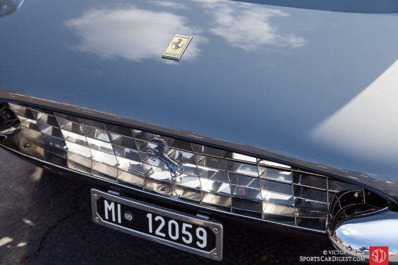 Light peering through the grill of the 1969 Ferrari 365 GTC