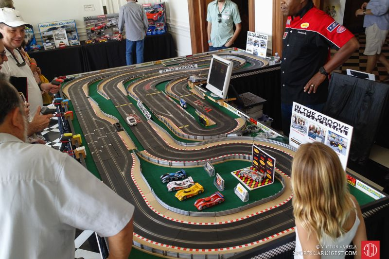 Slot car racing inside the mansion