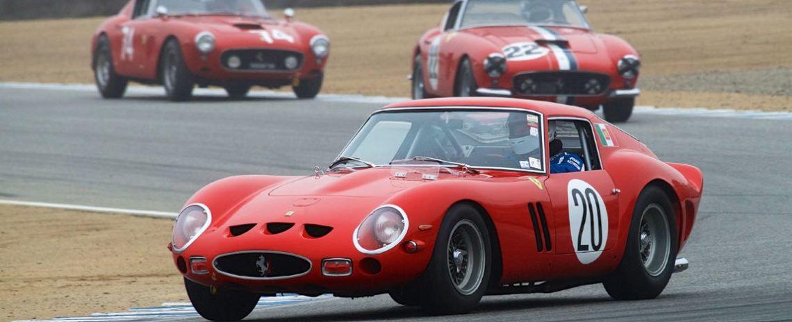 Ferrari 250 GTO, followed by a pair of Ferrari 250 GT SWB Berlinettas