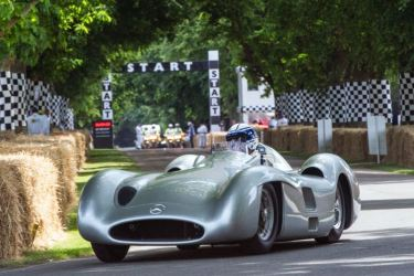 Jochen Mass in the 1954 Mercedes-Benz W 196 R Streamliner (photo: Tim Scott)