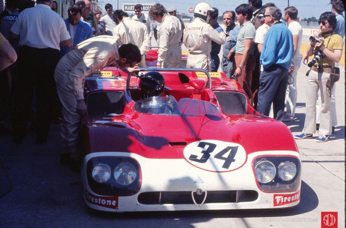 Nino Vaccarella and Toine Hezemans would drive this Alfa Romeo T33/3 in the race (Photo: Gene Bussian)