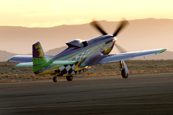 P-51 Voodo taxis out for a dawn test fight