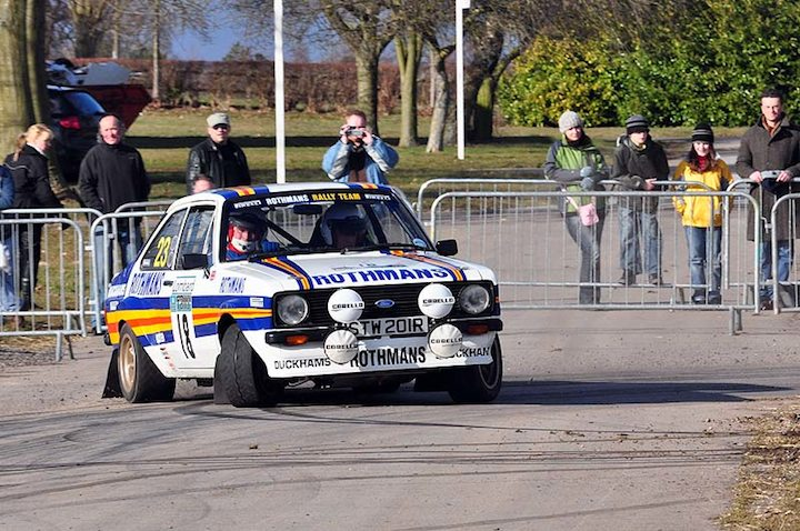 Alan Watkins throws the Ford Escort Mk II sideways through the corner