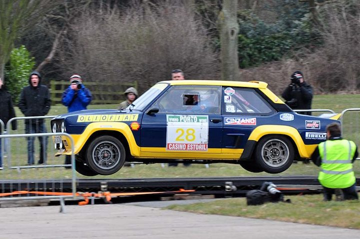 Fiat 131 Abarth flies in works colours driven by Tim Parker-Garner