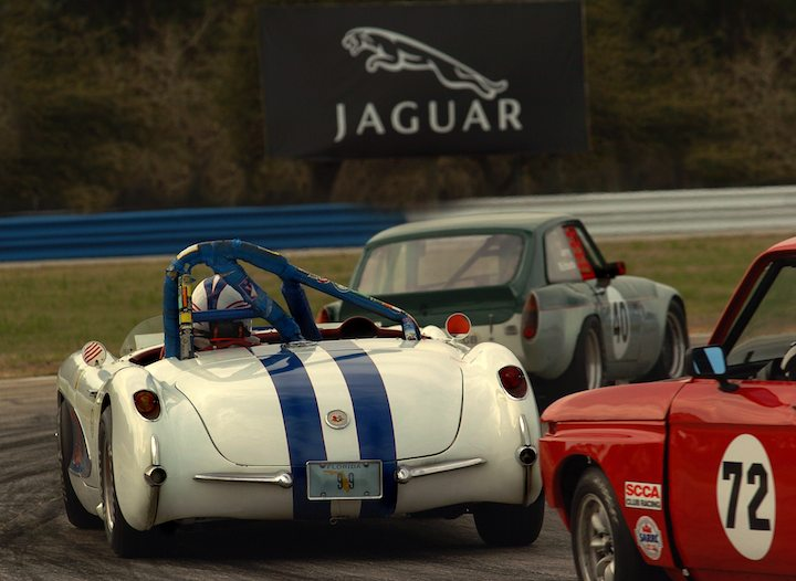 MGB GT, Corvette and BMW 2002 battle