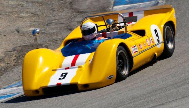 Ilja Burkoff takes the 1968 McLaren M6B down the Corkscrew.
