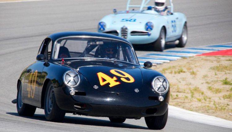 Porsche 356 of Ed Hugo in turn five.