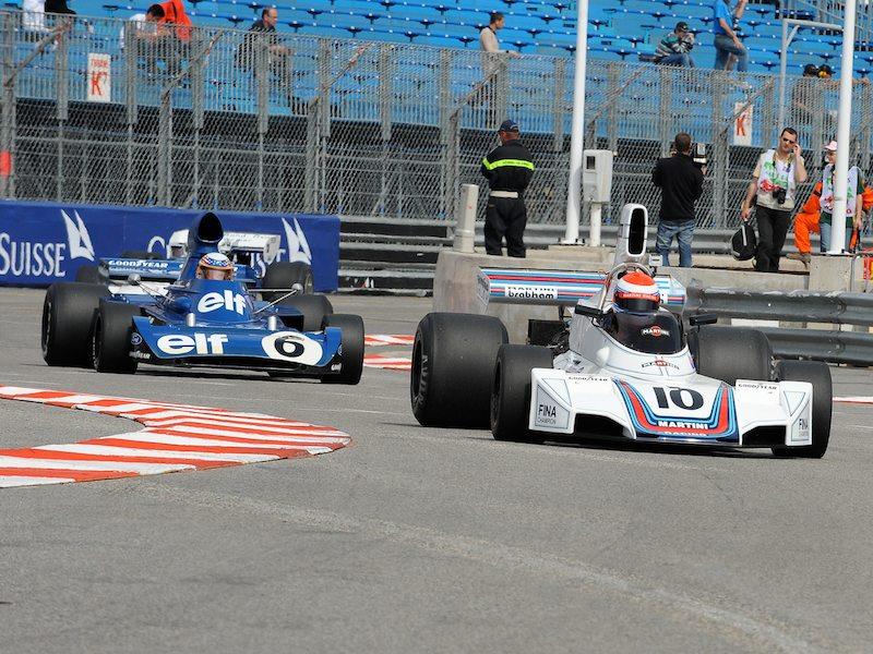 Familiar liveries - Martini Brabham BT42/44 - Manfredo Rossi Di Montelera and John Delane's Elf Tyrrell