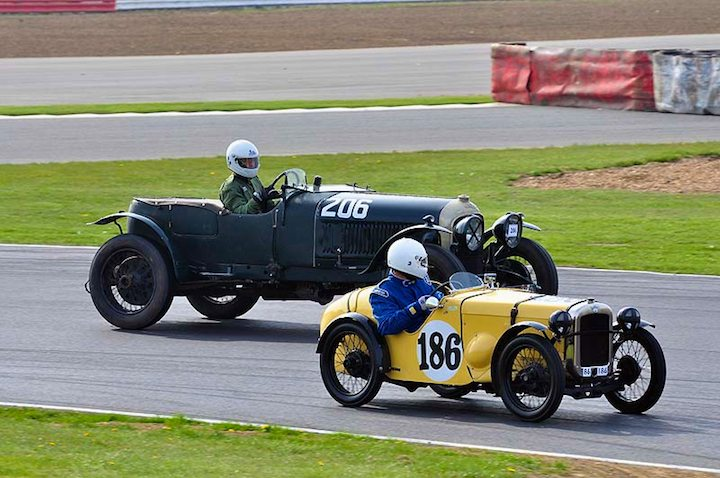 Little and Large - Austin 7 Ulster of David Birnage checks out the 1928 Bentley 4.5 litre of Mrs S.L. Bennie