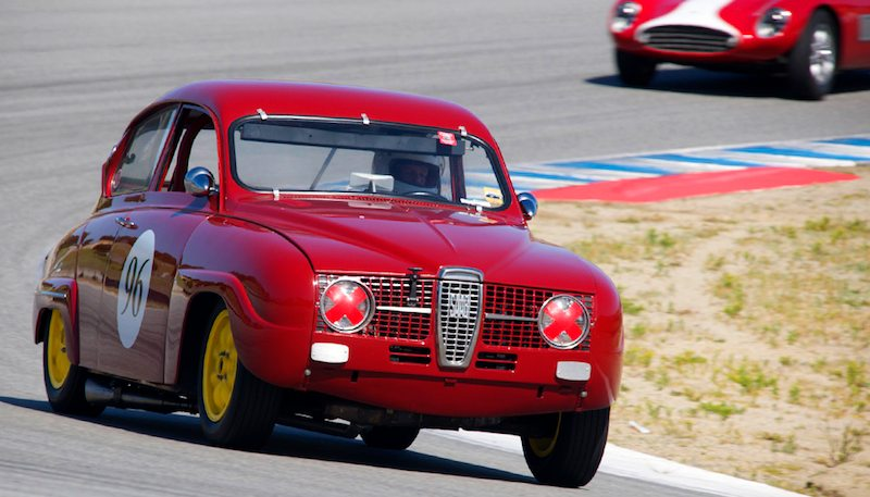 Rare sight on track - 1966 Saab 96 driven by Paul Perry.