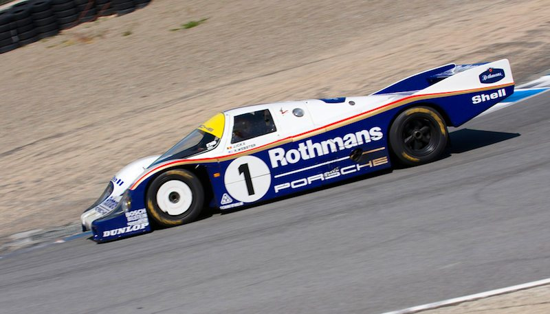Down the Corkscrew the 956 Porsche driven by Ransom Webster.