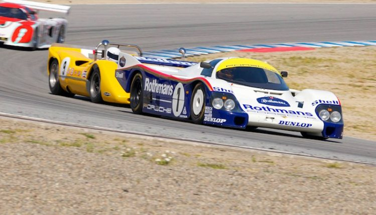 Ranson Webster's Porsche 956 leads the McLaren M6B and March 83G through five.