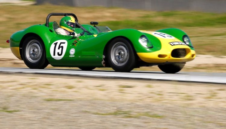 Brent Backman's 1957 Lister Chevrolet exits five.