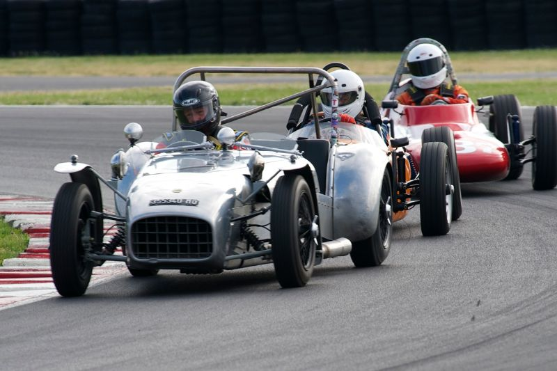 Richard Mattei's 1957 Lotus 7 leads the pack.