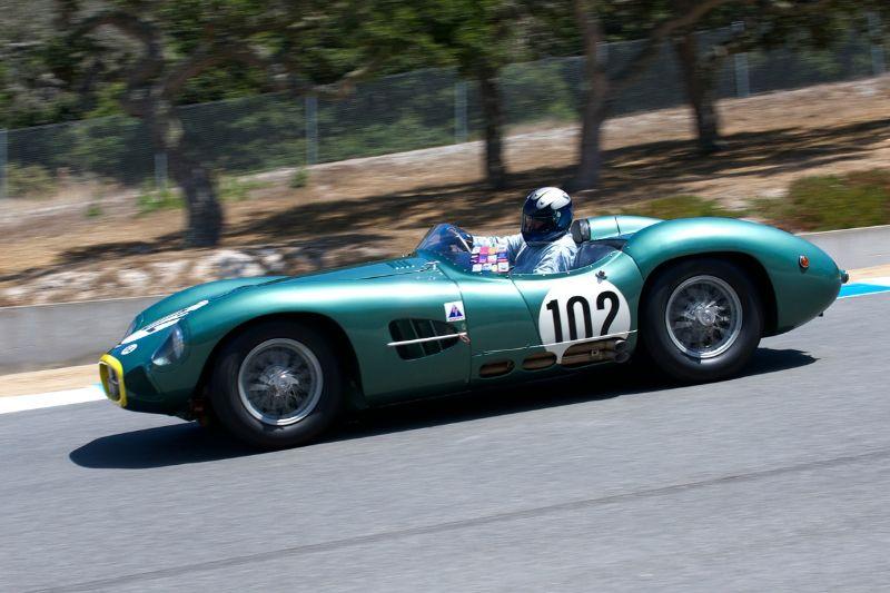 Gregory Whitten's 1957 Aston Martin DBR2 going into nine.