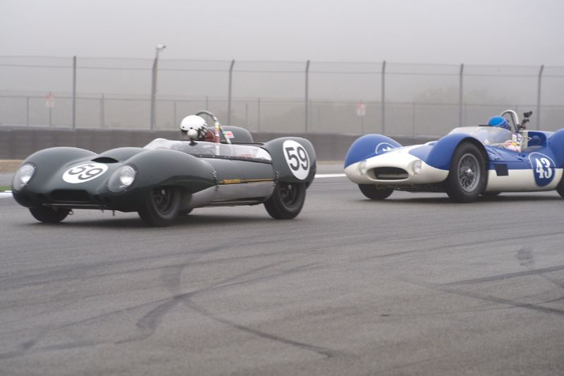 Don Orosco's Lotus 15 leads Rob Walton's Maserati Tipo 60 out of