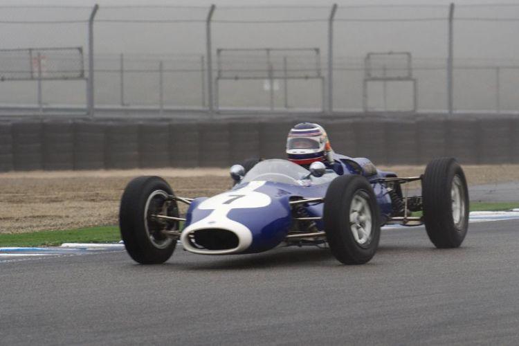 Roy Walzer's 63 Cooper F-Jr. on a damp track.