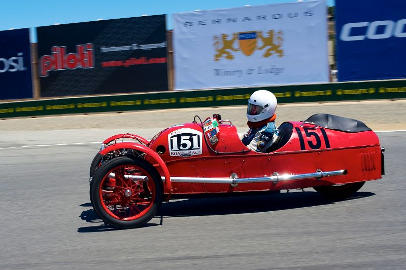 Larry Ayers in his 1930 Morgan 3-Wheeler.
