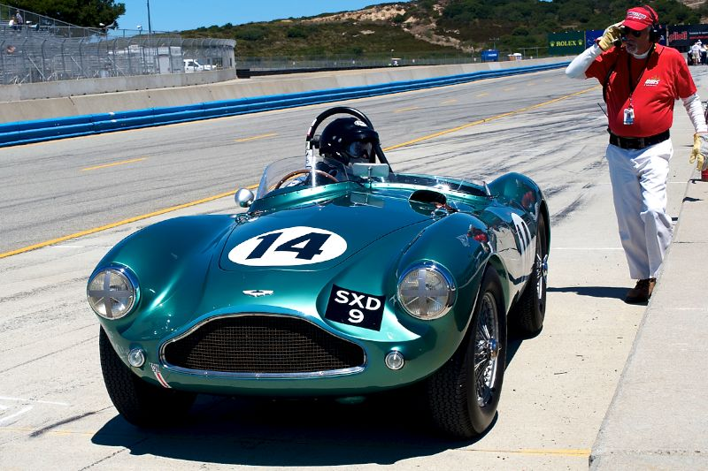 John Romano pulls his Aston Martin DB3S into the pits.