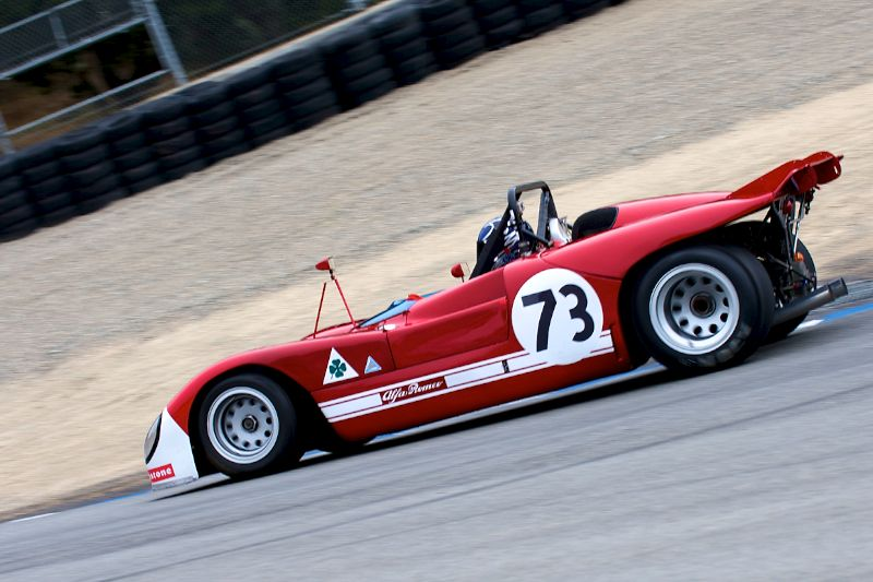 Down the Corkscrew goes Paul Brown in his Alfa Romeo T33/3.