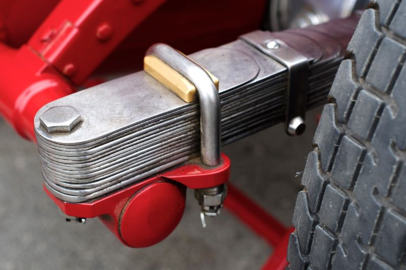 "Leaf springs look and feel like jewels.Each spring is about a 1/16"" thick and polished. Giddings' 1930 Alfa Romeo Tipo B P3."