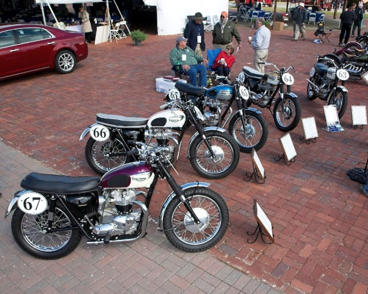 One of each of the competition variations of the 1965 Triumph Bonnevilles