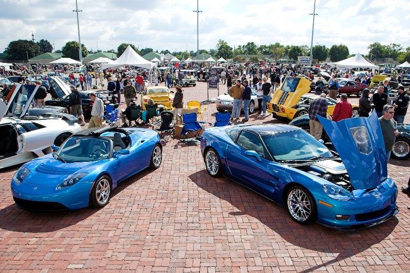 Left, 2008 Telsa Electric Roadster Sport  Right, 2010 Corvette ZR1