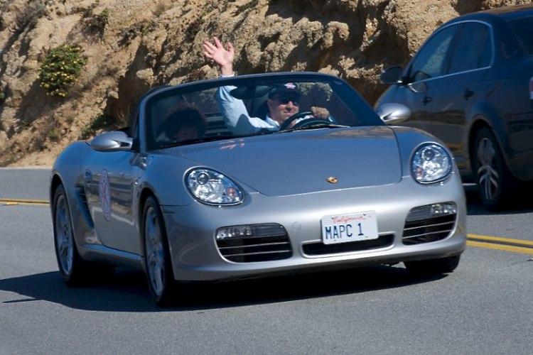 Michael Casolo in his Porsche Boxster, just north of Moss Beach.