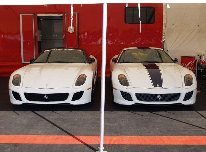 Symmetric couple of recent Ferrari 599s