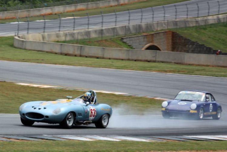 Farrell Preston's 63 Jaguar E Type smoking and slowing.
