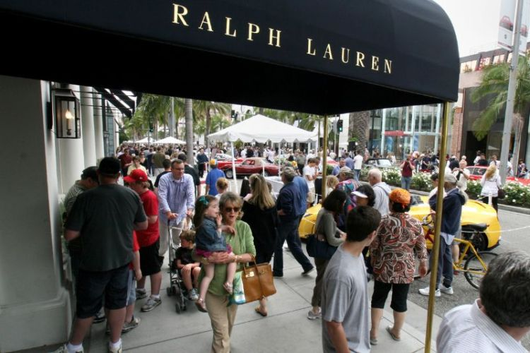 Along Rodeo Drive during the Father's Day Concours, where—among more than 100 retailers here—Ralph Lauren, Gucci, Fendi, Chanel, Cartier, Hermes, Armani, Prada, Harry Winston and Yves St. Laurent, to name a few, occur store after store.