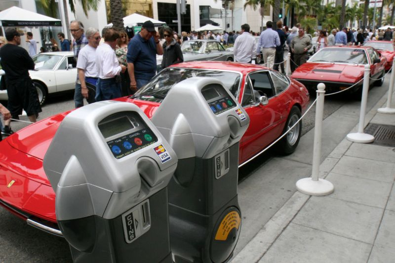 Meters that generally rake in big dollars for Beverly Hills sleep while Ferraris, and other Italian cars, park without tickets all the Concours Day.