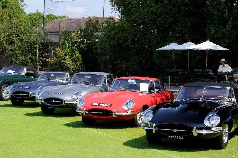 Line-up of Series 1 E-Type Jaguars