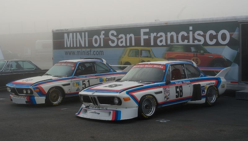 Pre-Reunion Saturday. Bill Watson's Road Rockets BMW CSLs.