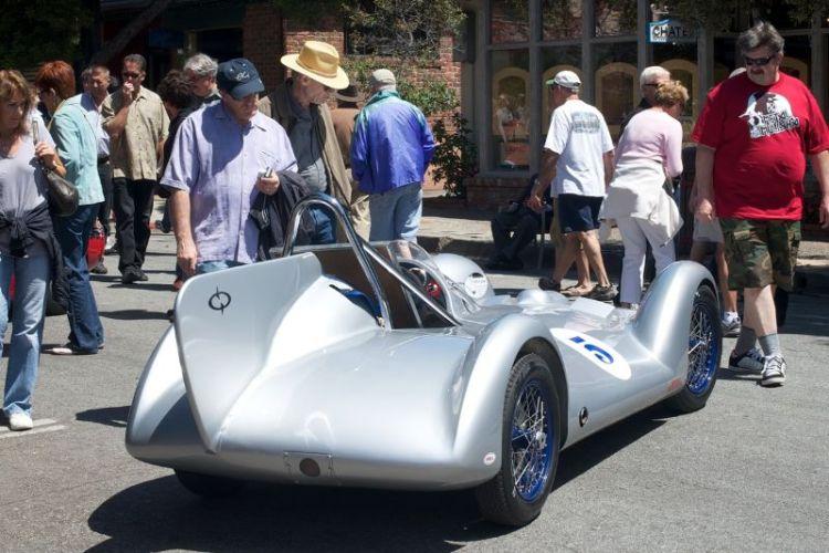 The crowd gathers around Mark Sange's 1958 Avia BMW 750cc race car.