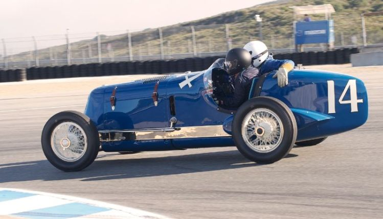 Pre-Reunion, Sunday. 1935 Shaw-Pirrung Indy with riding Mechanic. Driven by Linda Mountanos.