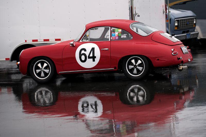 Joseph Rossi's 1964 Porsche 356C in Saturday morning's wet pits.