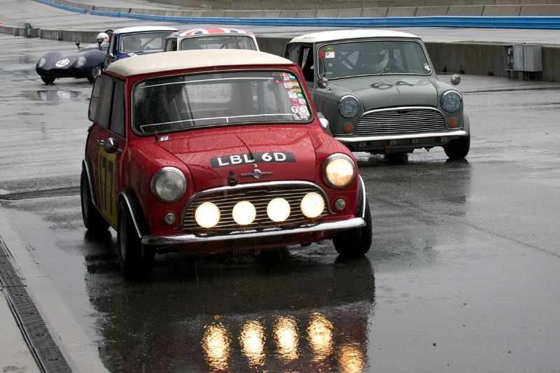 Dennis Racine's 1966 Mini Cooper S, Najeeb Khan's 1966 Mini Cooper S lead out Group 2 Saturday morning.