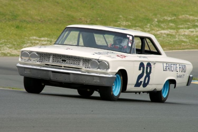 Friday afternoon practice. Sheelagh Murphy's Group 3 1963 Ford Galaxie.