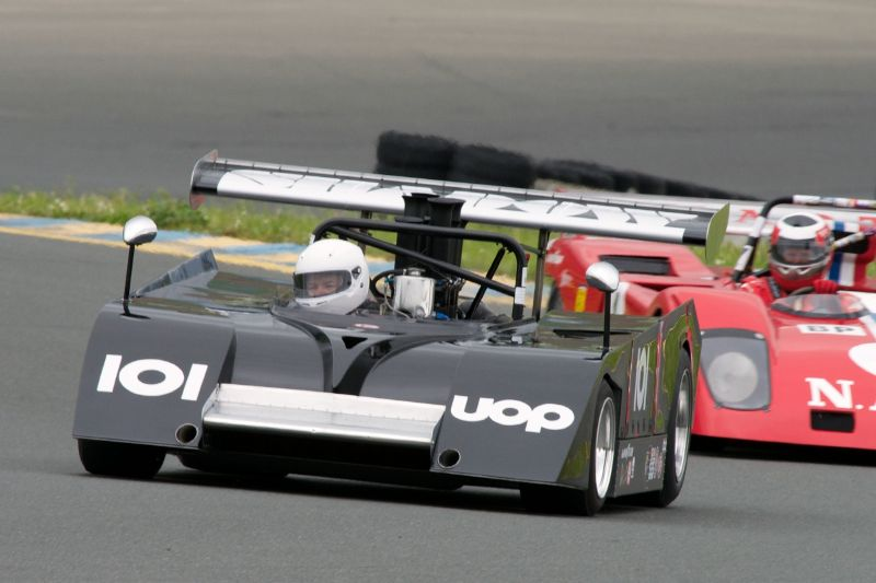 Friday afternoon practice. Roger Lemmel's Shadow MK.2 leads the Sparling Ferrari 312 driven by John Goodman.