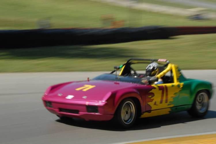 Chip Vance, is a blur of color, 1971 Porsche 914/6.