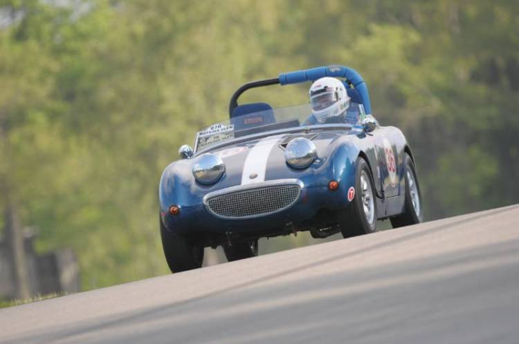 Charles Hall in the endearing 1958 Austin Healey Sprite.