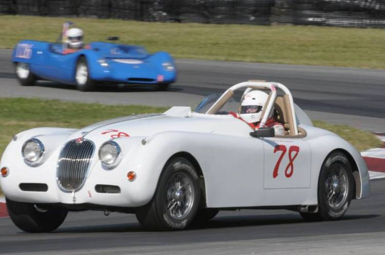 The oldest car to take the track, 1958 Jaguar XK150 of Max Heilman.