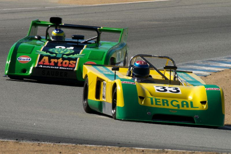 Billy Jacobs in his Chevron B19 leads the Sauber C4 of Brian Groza in turn 5 Thursday afternoon.