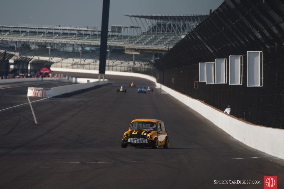 Austin Mini Cooper S on the front straight at the Indianapolis Motor Speedway (photo: Michael DiPleco)