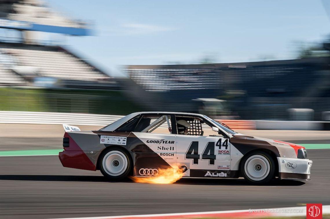 Flaming Audi DTM at the Oldtimer Grand Prix (photo: Julien Mahiels)