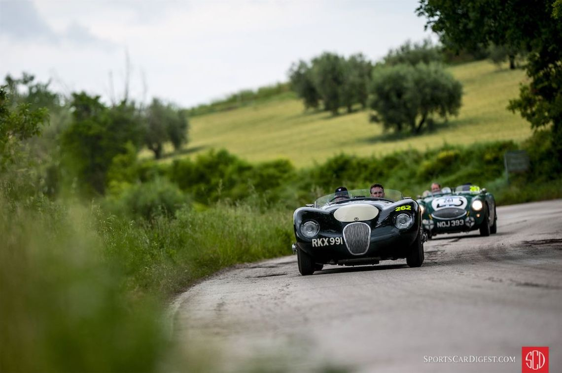 Jaguar C-Type and Austin-Healey 100S at the Mille Miglia (photo: Julien Mahiels)